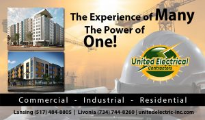 Business card for united electrical contractors lansing michigan mi 48906
